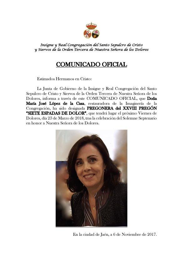 COMUNICADO XXVIII PREGON SIETE ESPADAS DE DOLOR