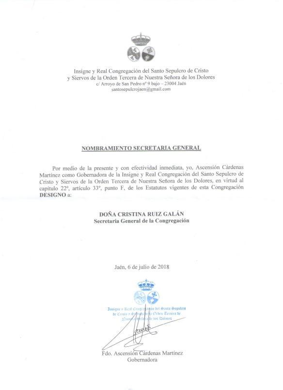 02. NOMBRAMIENTO SECRETARIA GENERAL