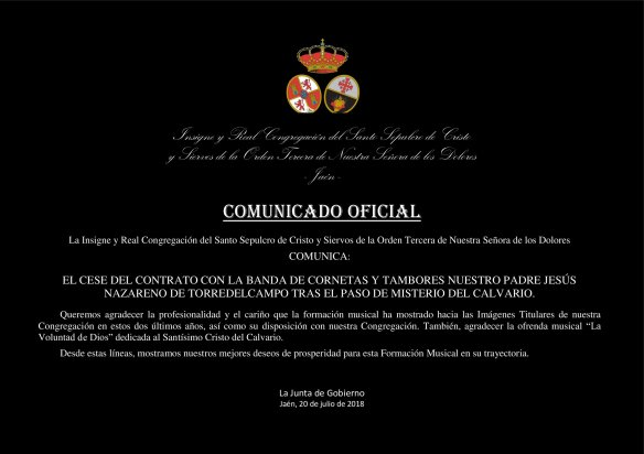 COMUNICADO - CESE CONTRATO BANDA DEL NAZARENO